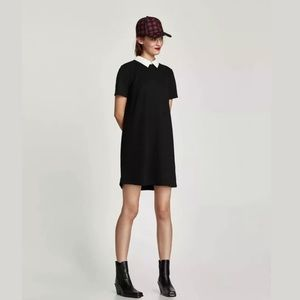 Zara Blk Sz Sm Peter Pan Collar Mini Career  fun